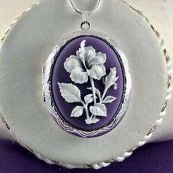 HIBISCUS FLOWER White  Purple CAMEO LOCKET NECKLACE 925 Silver plated Chain