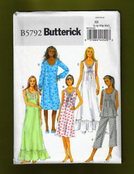 Misses Nightgowns Top & Pants Sewing Pattern (Plus Sizes L-XXL) Butterick 5792