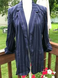 She+Sky Women's BlazerJacket Morrison Striped Blue Navy Size M.