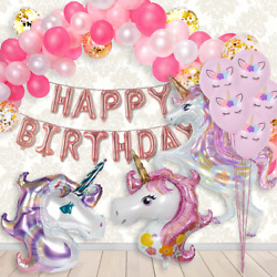 134:16ft UNICORN CONFETTI BALLOON Arch HAPPY BIRTHDAY PINK PURPLE PARTY SUPPLIES $23.75