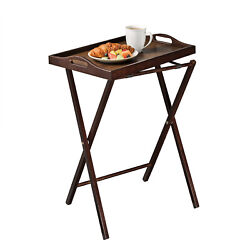 Essential Home Folding Stand TV Tray Solid Wood with Oak Finish Removable Tray