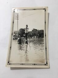Glossy Real Photo Man Overalls Hat Flooded Gas Pump 1920#x27;s Era Oil Globe Tank $110.00
