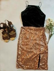 Gianni Binni Women backless Sequin Cocktail Evening Party Dress Gold green S M $25.00