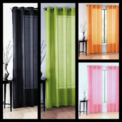 2PC SOLID SHEER INDOOR PANEL 8 BRONZE GROMMETS WINDOW CURTAIN VERSATILE RUBY  $7.00