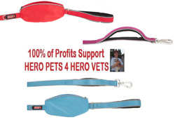 KONG 4ft Padded Handle Traffic Dog Leash Reflective With Pouch Pink Blue Red