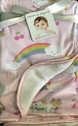 Blankets and Beyond Security Blanket Unicorn Rainbows Pink White Baby Infant NEW