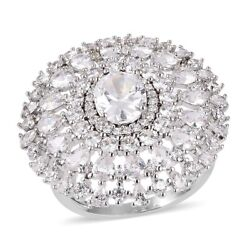 CZ Cluster Ring Oval White Cubic Zirconia Jewelry for Women Cttw 11.85