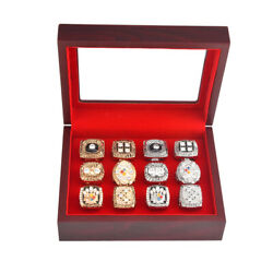 12 Slot Wooden Display Box Storage Holder Case for Championship Ring Gifts