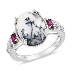 Dendritic Agate Ruby Cubic Zirconia CZ Statement Ring Jewelry Size 9 Ct 9.4