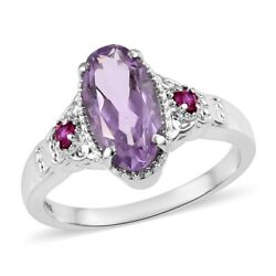 Steel Pink Amethyst Red Cubic Zirconia CZ Statement Ring Jewelry Size 9 Ct 3.1
