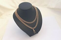 RARE VICTORIAN HM 9ct SOLID GOLD ALBERT CURB LINK NECKLACE  66.9g