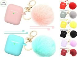 Cute Airpods Silicone Case Cover w Fur Ball Keychain Strap for Apple Airpods 1 2 $8.53