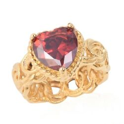 Solitaire Ring Steel Yellow Plating Heart Cubic Zirconia CZ Red Gift Size 9 Ct 1