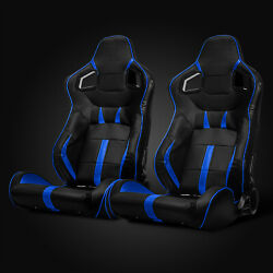 Universal Black Blue Strip PVC Leather Left Right Racing Bucket Seats Slider $288.95