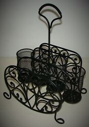 Wrought Iron Serving Caddy for Plates Flatware Napkins