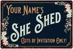 Your Name Personalized She Shed Metal Sign Wall Décor 108120110001