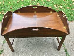 Large Antique Mahogany Butlers Tray Top Coffee Table Removable Tray