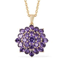 Yellow Gold Plated Cubic Zirconia CZ Purple Pendant with Chain 20