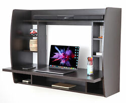 New Basicwise Wall Mount Laptop Office Desk with Shelves $157.69