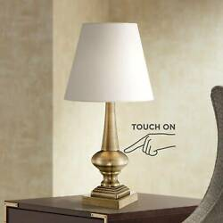 Traditional Table Lamp Antique Brass Touch On White Shade for Living Room Desk