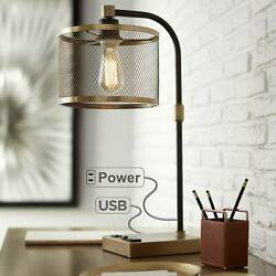 Industrial Desk Lamp with USB Outlet Antique Brass and Bronze for Bedroom Office