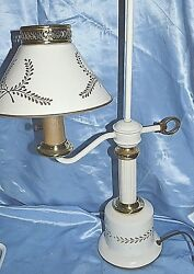 Vintage Lamp METAL WHITE amp; GOLD TOLEWARE PAINTED SHADE $129.99