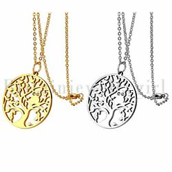 Stainless Steel Owl Tree of Life Pendant Necklace for Women Girls Boys Chain 18