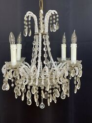Antique French Italian Crystal Macaroni Opaline Beaded Basket Chandelier $750.00