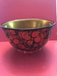 Vintage Made In USSR Lacquer Wooden Bowl