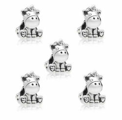 5pcs New European Silver unicorn Charm Bead Fit Charm Bracelet Chain