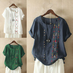 Women Floral Shirt Short Embroidered M 5XL Tops T Cotton Bohemian Sleeve Blouse $12.69