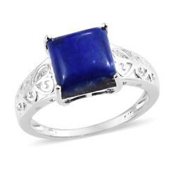 925 Sterling Silver Lapis Lazuli Solitaire Ring Jewelry for Women Size 9 Ct 5.6
