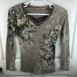 Women's Miss Me Long Sleeve Shirt Brown Lace Embellished Size Small