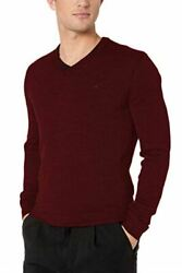 Calvin Klein Men's Lightweight Merino V-Neck Sweater Red Chestnut XX-Large ()