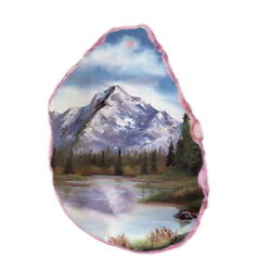 Color Printing oil painting Agate Gemstone Pendant Necklace Y1901 0953