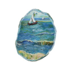 Color Printing oil painting Agate Gemstone Pendant Necklace Y1901 0959