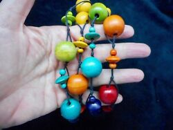Authentic Vintage Bright Colorful Wooden Bead Necklace 30