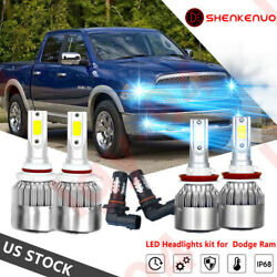 6X LED Headlight Bulb High Low Fog Combo For Dodge RAM 1500 2500 3500 2013-2015