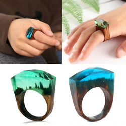 NEW Handmade Clear Wood Ring Resin Landscape Epoxy Magnificent Jewelry