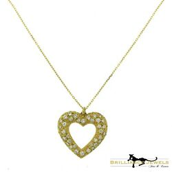 Cartier French Paris Lg. Heart Diamond Paved Pendant Necklace in 18k Yellow Gold