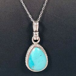 925 Sterling Silver Teardrop Pear Gorgeous Turquoise Pendant Necklace
