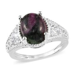 925 Sterling Silver Ruby Zoisite Cubic Zirconia CZ Statement Ring Size 9 Ct 3.9