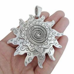 2pcs Antique Silver Large Spiral Sun Flower Charms Pendants for Necklace Making $4.50