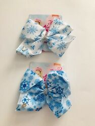 "Jojo Siwa 8"" Large Snowflake Girls Hair Bows Accessories Clip 2 pcs ✨ NEW ✨ $11.99"