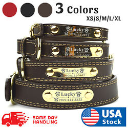 PU Personalized Dog Collars Name ID Collar with Name plate XS-XL Engraved  $10.98