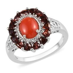 925 Sterling Silver Garnet Cubic Zirconia CZ Halo Ring Jewelry Size 9 Ct 2