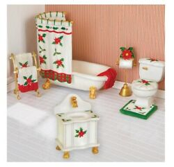 Poinsettia Mini Bathroom Collectable Furniture Set $10.70