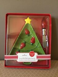 Hallmark Christmas Tree Serving Dish With Lighted Spreader ~ New In Box
