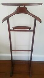 BUTLER STAND clothes suit rack SPQR MADE IN ITALY Vintage CHERRY wood Valet