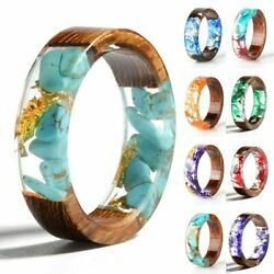 Epoxy Rings Clear Wood Design Resin Ring Fashion Handmade Dried Flower Jewelry